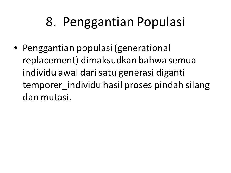 8. Penggantian Populasi Penggantian populasi (generational replacement) dimaksudkan bahwa semua individu awal dari satu generasi diganti temporer_indi