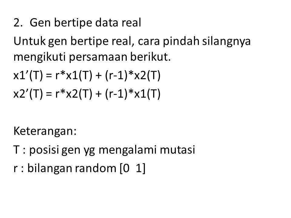 2.Gen bertipe data real Untuk gen bertipe real, cara pindah silangnya mengikuti persamaan berikut. x1'(T) = r*x1(T) + (r-1)*x2(T) x2'(T) = r*x2(T) + (