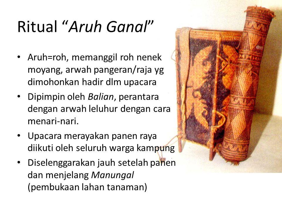 "Ritual ""Aruh Ganal"" Aruh=roh, memanggil roh nenek moyang, arwah pangeran/raja yg dimohonkan hadir dlm upacara Dipimpin oleh Balian, perantara dengan a"