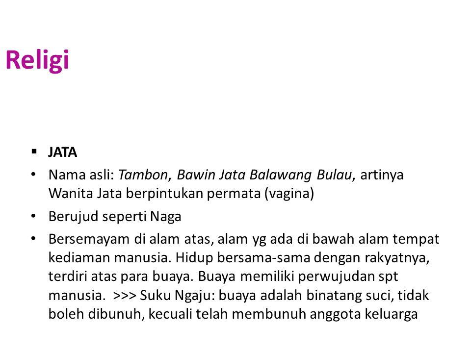  JATA Nama asli: Tambon, Bawin Jata Balawang Bulau, artinya Wanita Jata berpintukan permata (vagina) Berujud seperti Naga Bersemayam di alam atas, al