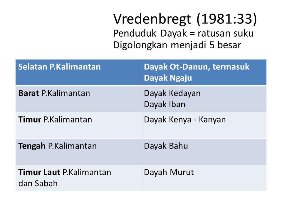 Selatan P.KalimantanDayak Ot-Danun, termasuk Dayak Ngaju Barat P.KalimantanDayak Kedayan Dayak Iban Timur P.KalimantanDayak Kenya - Kanyan Tengah P.Ka