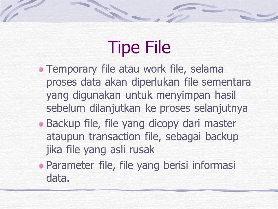 Tipe File Temporary file atau work file, selama proses data akan diperlukan file sementara yang digunakan untuk menyimpan hasil sebelum dilanjutkan ke proses selanjutnya Backup file, file yang dicopy dari master ataupun transaction file, sebagai backup jika file yang asli rusak Parameter file, file yang berisi informasi data.