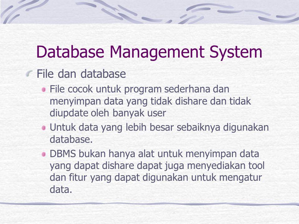 Database Management System File dan database File cocok untuk program sederhana dan menyimpan data yang tidak dishare dan tidak diupdate oleh banyak user Untuk data yang lebih besar sebaiknya digunakan database.