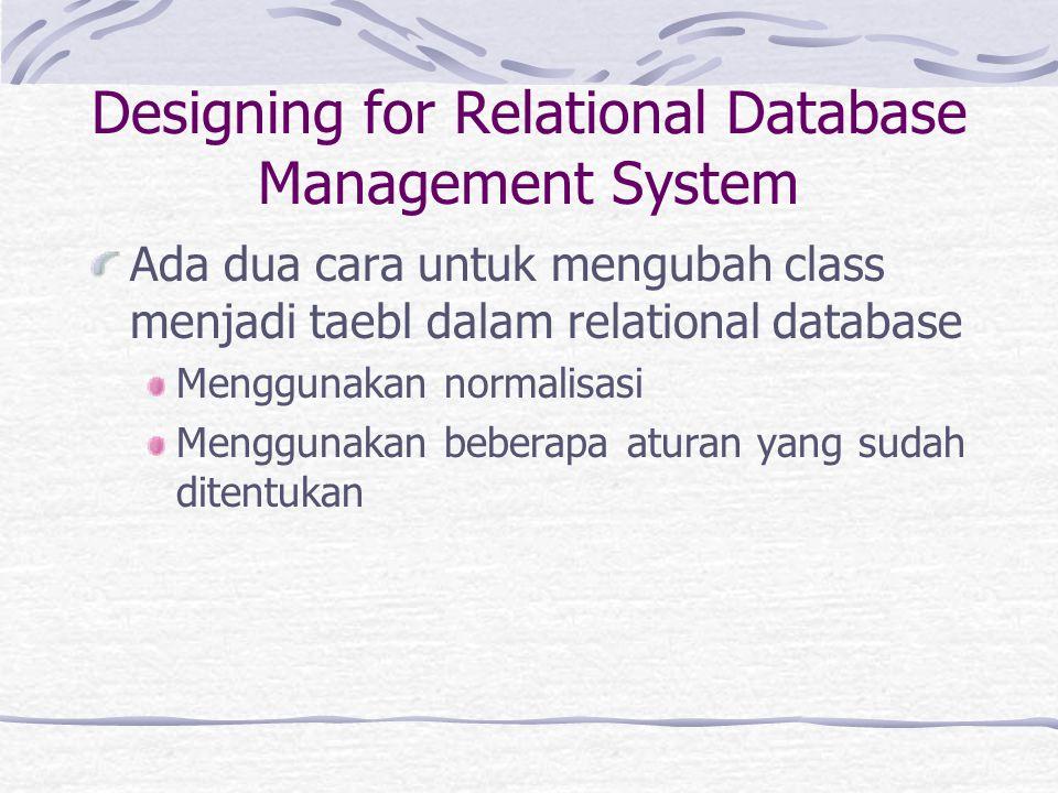 Designing for Relational Database Management System Ada dua cara untuk mengubah class menjadi taebl dalam relational database Menggunakan normalisasi Menggunakan beberapa aturan yang sudah ditentukan