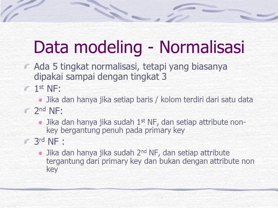 Data modeling - Normalisasi Ada 5 tingkat normalisasi, tetapi yang biasanya dipakai sampai dengan tingkat 3 1 st NF: Jika dan hanya jika setiap baris / kolom terdiri dari satu data 2 nd NF: Jika dan hanya jika sudah 1 st NF, dan setiap attribute non- key bergantung penuh pada primary key 3 rd NF : Jika dan hanya jika sudah 2 nd NF, dan setiap attribute tergantung dari primary key dan bukan dengan attribute non key