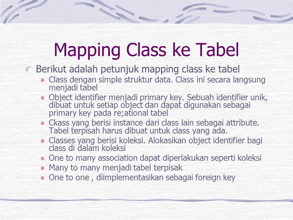 Mapping Class ke Tabel Berikut adalah petunjuk mapping class ke tabel Class dengan simple struktur data.