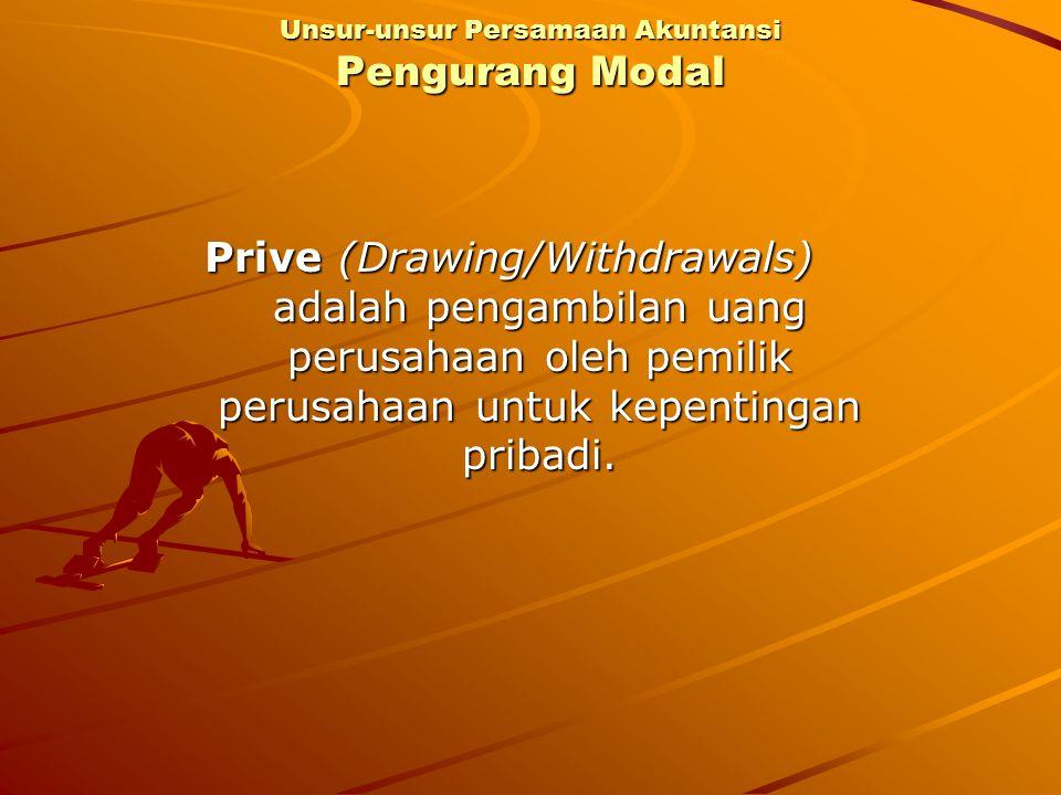 Prive (Drawing/Withdrawals) adalah pengambilan uang perusahaan oleh pemilik perusahaan untuk kepentingan pribadi. Unsur-unsur Persamaan Akuntansi Peng