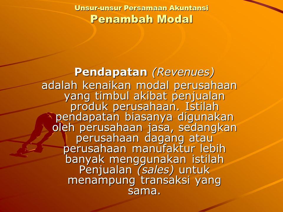 Pendapatan (Revenues) adalah kenaikan modal perusahaan yang timbul akibat penjualan produk perusahaan. Istilah pendapatan biasanya digunakan oleh peru