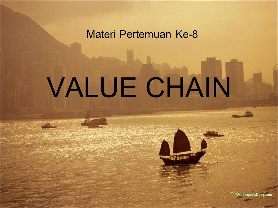 Konsep Value Chain Value Chain atau Rantai Nilai adalah pendekatan sistematik untuk mengembangkan keunggulan kompetitif sebuah perusahaan Pendekatan ini diciptakan oleh Michael E.
