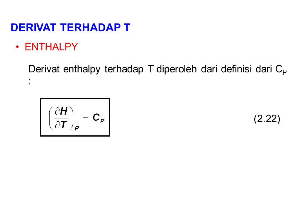 DERIVAT TERHADAP T ENTHALPY Derivat enthalpy terhadap T diperoleh dari definisi dari C P : (2.22)