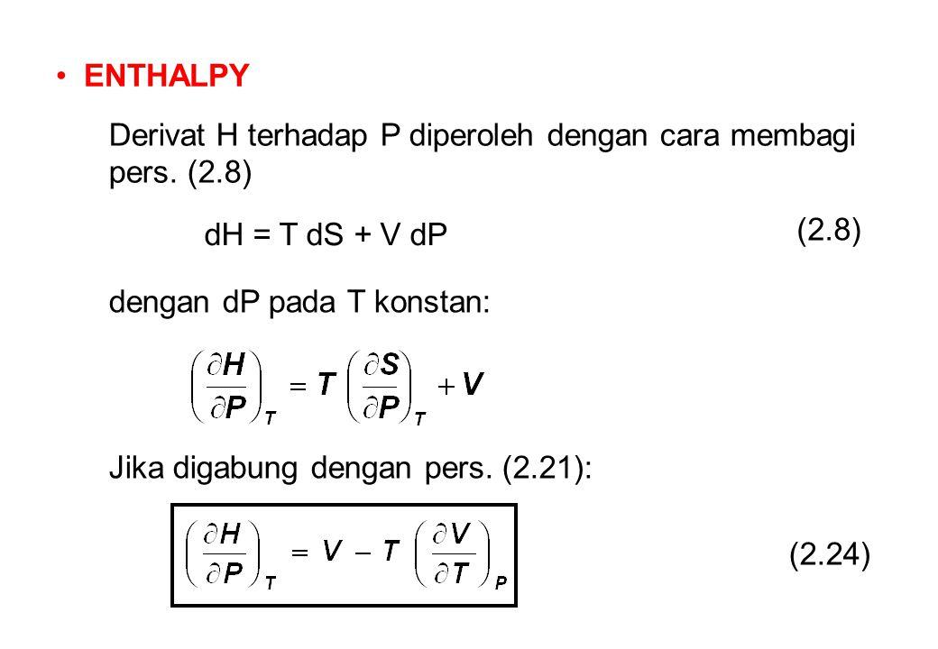 ENTHALPY Derivat H terhadap P diperoleh dengan cara membagi pers.