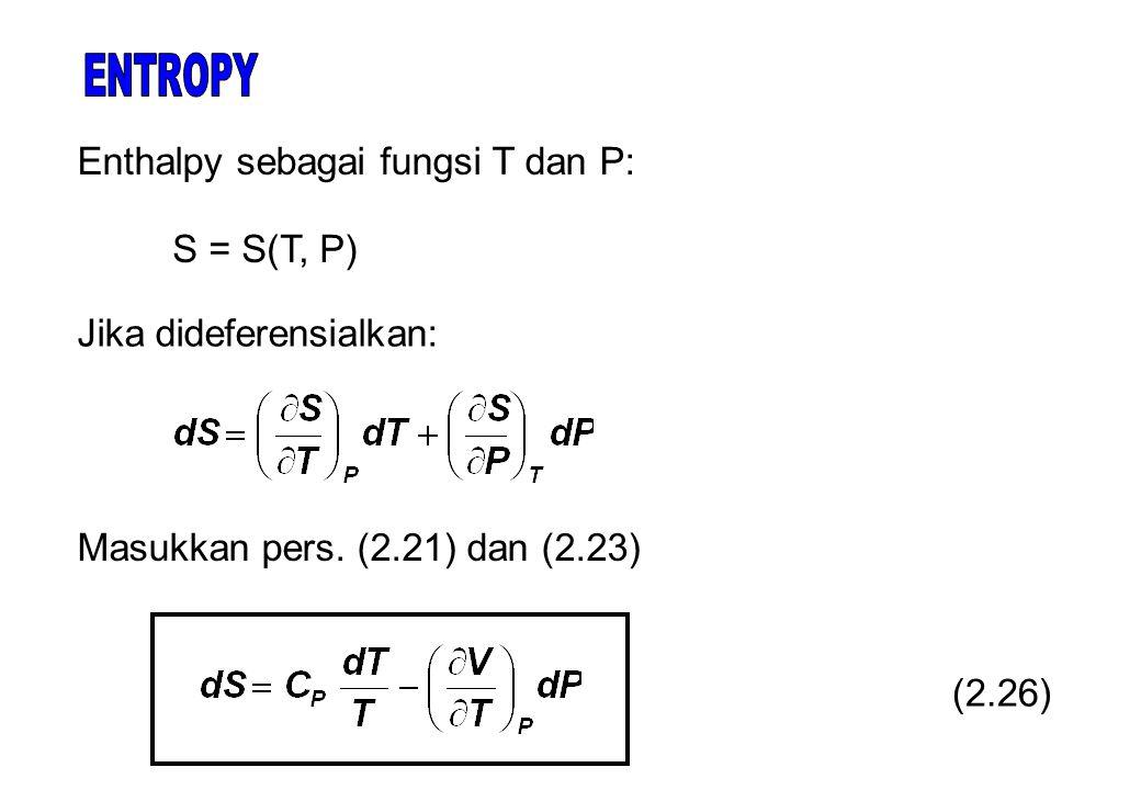 S = S(T, P) (2.26) Masukkan pers.