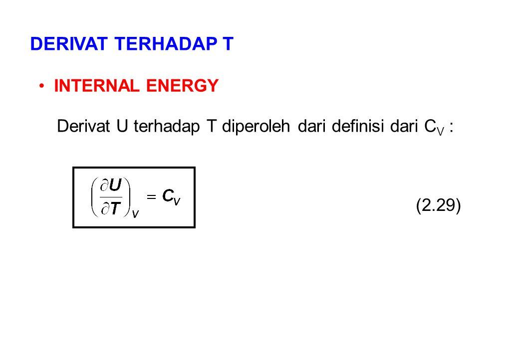 DERIVAT TERHADAP T INTERNAL ENERGY Derivat U terhadap T diperoleh dari definisi dari C V : (2.29)