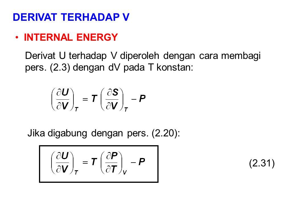 DERIVAT TERHADAP V INTERNAL ENERGY Derivat U terhadap V diperoleh dengan cara membagi pers.