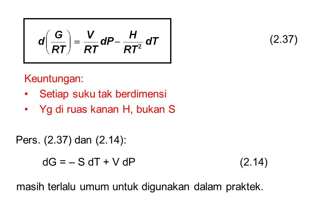 (2.37) Keuntungan: Setiap suku tak berdimensi Yg di ruas kanan H, bukan S Pers.
