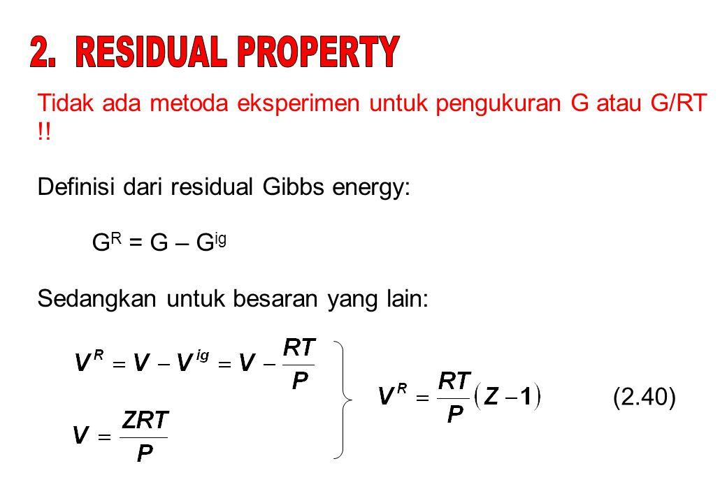 Tidak ada metoda eksperimen untuk pengukuran G atau G/RT !.