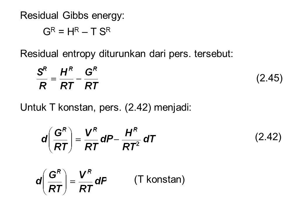 Residual Gibbs energy: G R = H R – T S R Residual entropy diturunkan dari pers.