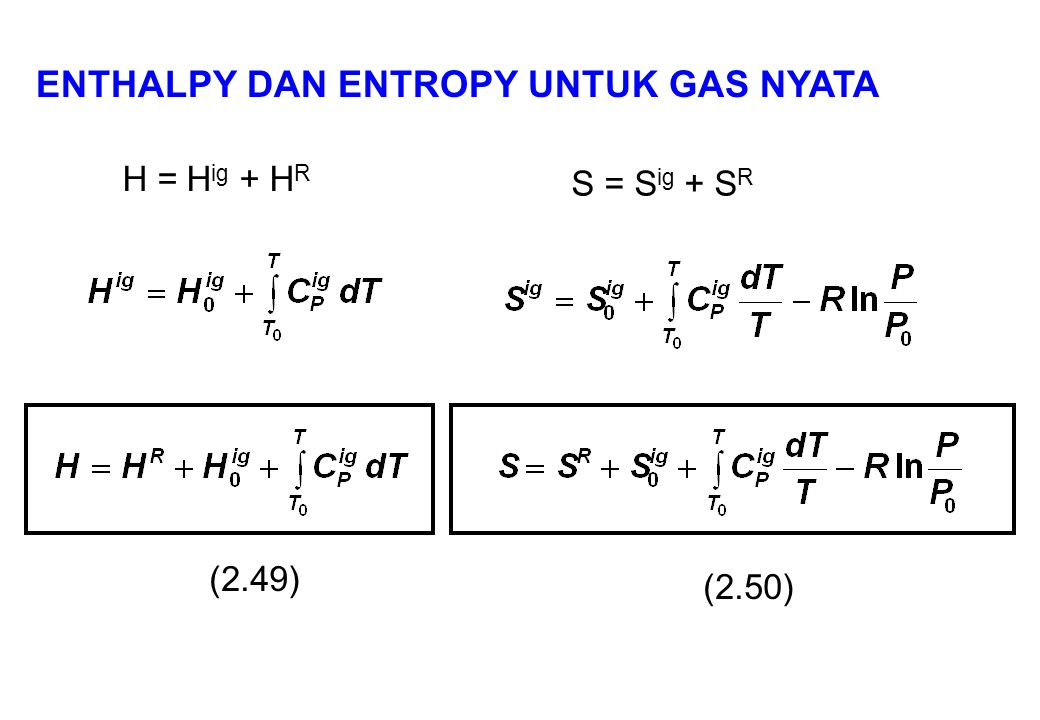 H = H ig + H R S = S ig + S R (2.49) (2.50) ENTHALPY DAN ENTROPY UNTUK GAS NYATA