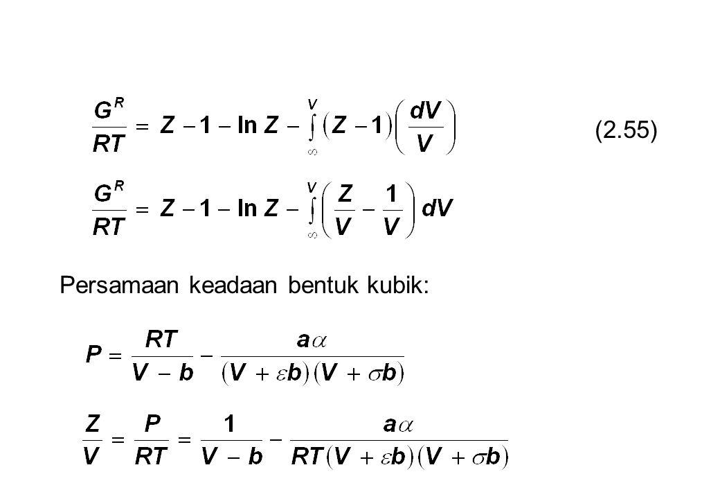(2.55) Persamaan keadaan bentuk kubik: