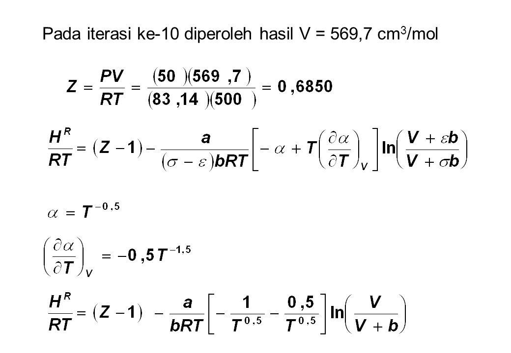 Pada iterasi ke-10 diperoleh hasil V = 569,7 cm 3 /mol