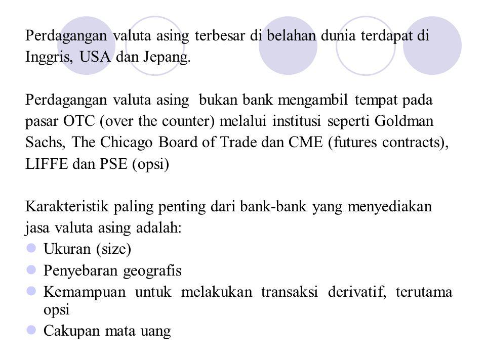 Perdagangan valuta asing terbesar di belahan dunia terdapat di Inggris, USA dan Jepang. Perdagangan valuta asing bukan bank mengambil tempat pada pasa