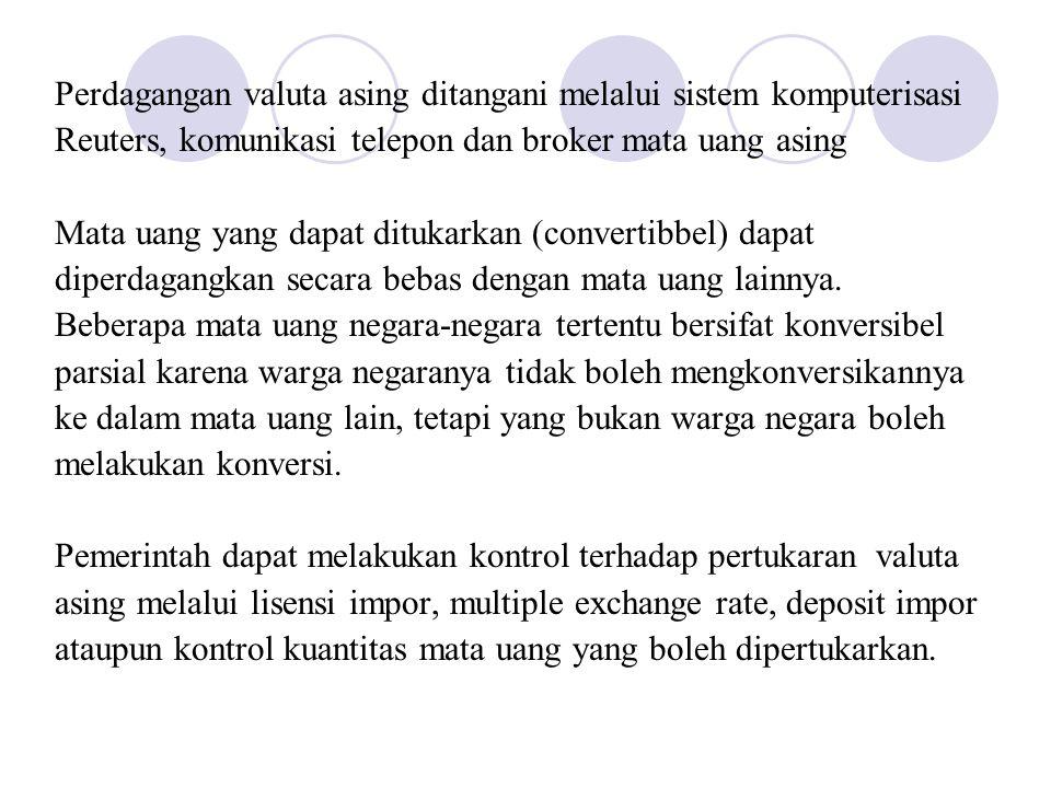 Perdagangan valuta asing ditangani melalui sistem komputerisasi Reuters, komunikasi telepon dan broker mata uang asing Mata uang yang dapat ditukarkan