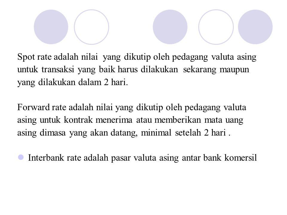 Spot rate adalah nilai yang dikutip oleh pedagang valuta asing untuk transaksi yang baik harus dilakukan sekarang maupun yang dilakukan dalam 2 hari.