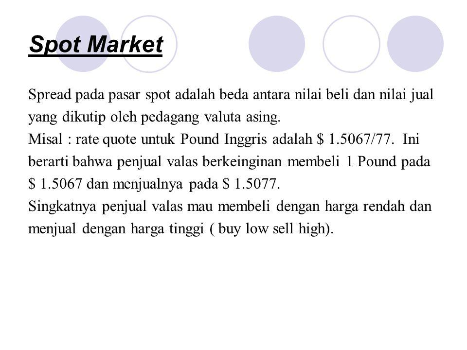 Spot Market Spread pada pasar spot adalah beda antara nilai beli dan nilai jual yang dikutip oleh pedagang valuta asing. Misal : rate quote untuk Poun