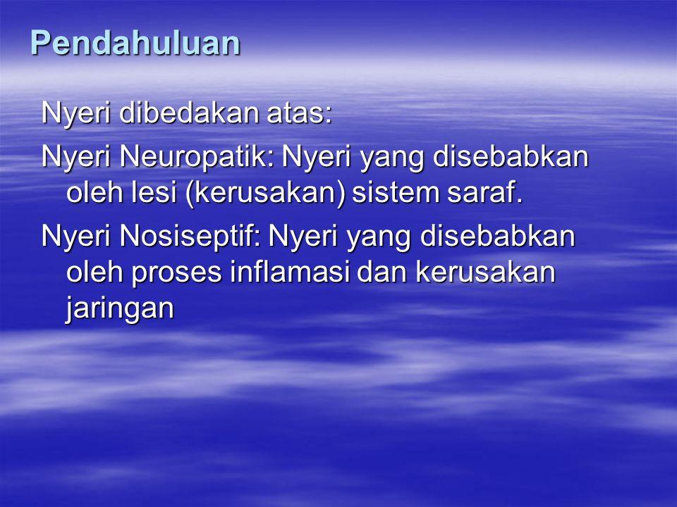 Pendahuluan Nyeri dibedakan atas: Nyeri Neuropatik: Nyeri yang disebabkan oleh lesi (kerusakan) sistem saraf. Nyeri Nosiseptif: Nyeri yang disebabkan