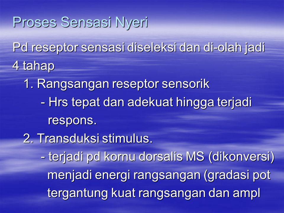 Proses Sensasi Nyeri Pd reseptor sensasi diseleksi dan di-olah jadi 4 tahap 1. Rangsangan reseptor sensorik - Hrs tepat dan adekuat hingga terjadi res