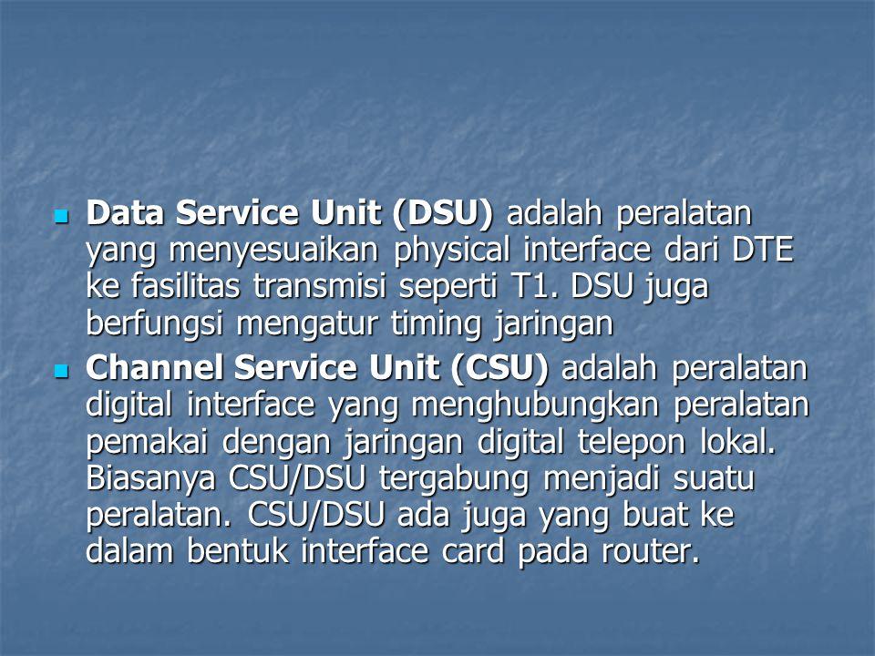 Data Service Unit (DSU) adalah peralatan yang menyesuaikan physical interface dari DTE ke fasilitas transmisi seperti T1. DSU juga berfungsi mengatur