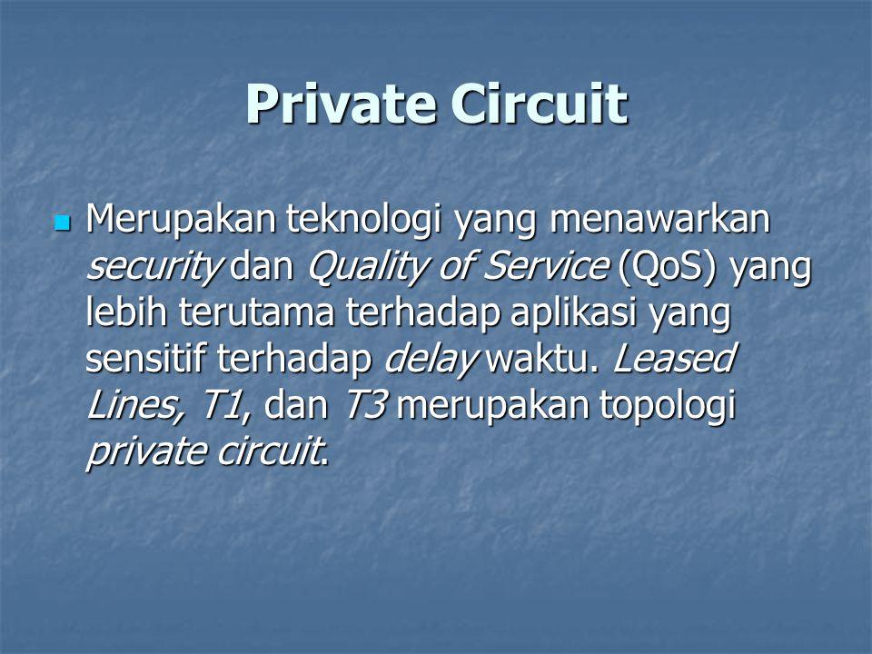 Private Circuit Merupakan teknologi yang menawarkan security dan Quality of Service (QoS) yang lebih terutama terhadap aplikasi yang sensitif terhadap