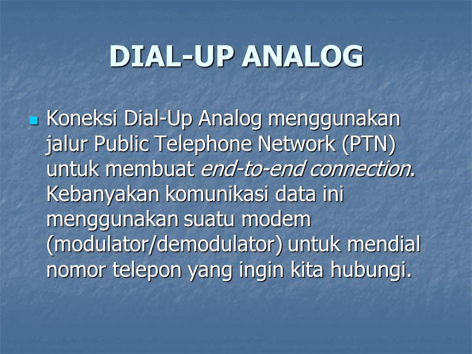 DIAL-UP ANALOG Koneksi Dial-Up Analog menggunakan jalur Public Telephone Network (PTN) untuk membuat end-to-end connection. Kebanyakan komunikasi data