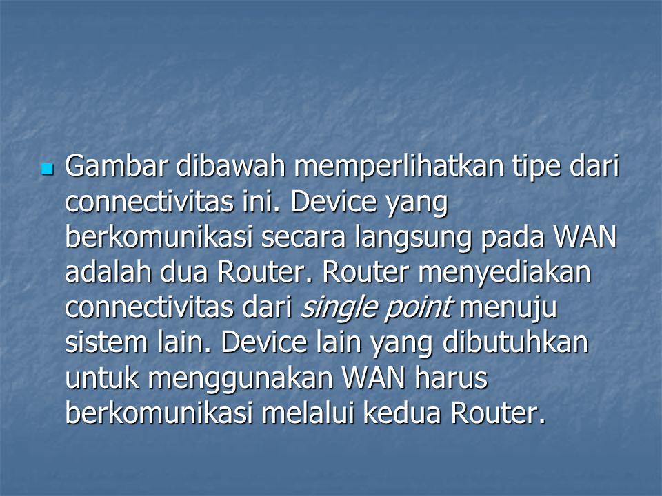Hanya dua Router yang berkomunikasi secara langsung pada WAN. Point to point
