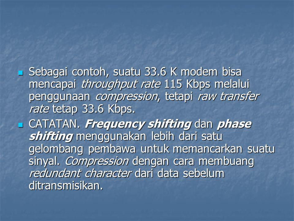 Sebagai contoh, suatu 33.6 K modem bisa mencapai throughput rate 115 Kbps melalui penggunaan compression, tetapi raw transfer rate tetap 33.6 Kbps. Se