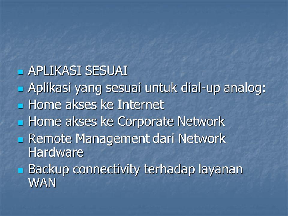 APLIKASI SESUAI APLIKASI SESUAI Aplikasi yang sesuai untuk dial-up analog: Aplikasi yang sesuai untuk dial-up analog: Home akses ke Internet Home akse