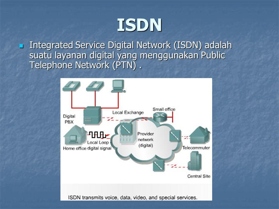 ISDN Integrated Service Digital Network (ISDN) adalah suatu layanan digital yang menggunakan Public Telephone Network (PTN). Integrated Service Digita
