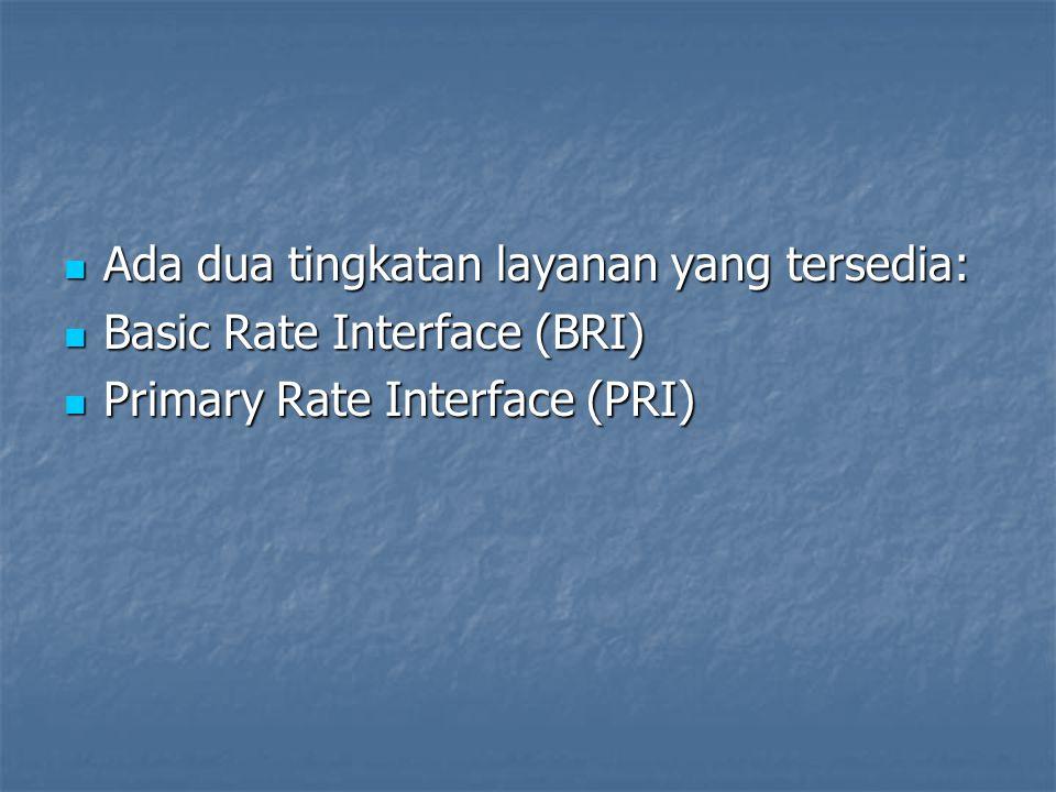 Ada dua tingkatan layanan yang tersedia: Ada dua tingkatan layanan yang tersedia: Basic Rate Interface (BRI) Basic Rate Interface (BRI) Primary Rate I