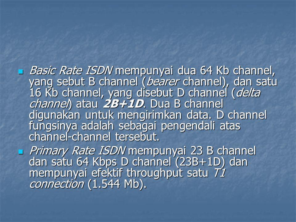 Basic Rate ISDN mempunyai dua 64 Kb channel, yang sebut B channel (bearer channel), dan satu 16 Kb channel, yang disebut D channel (delta channel) ata