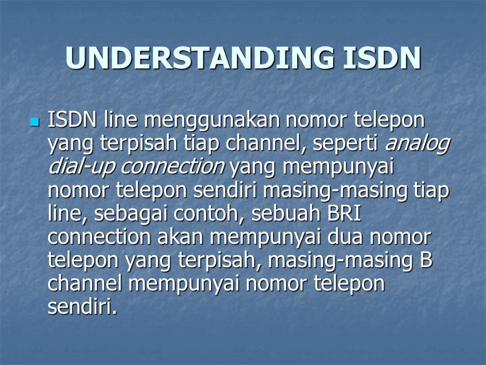 UNDERSTANDING ISDN ISDN line menggunakan nomor telepon yang terpisah tiap channel, seperti analog dial-up connection yang mempunyai nomor telepon send