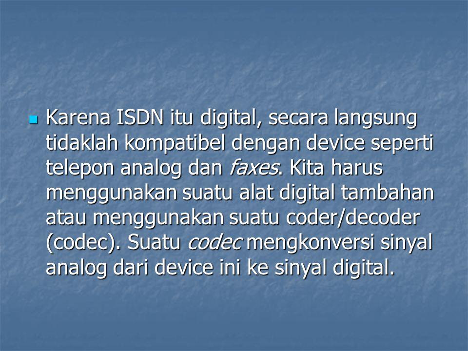 Karena ISDN itu digital, secara langsung tidaklah kompatibel dengan device seperti telepon analog dan faxes. Kita harus menggunakan suatu alat digital