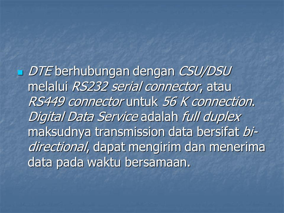 DTE berhubungan dengan CSU/DSU melalui RS232 serial connector, atau RS449 connector untuk 56 K connection. Digital Data Service adalah full duplex mak