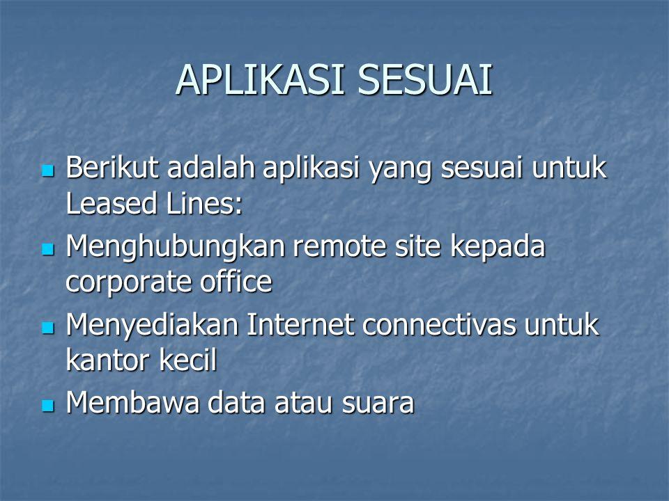 APLIKASI SESUAI Berikut adalah aplikasi yang sesuai untuk Leased Lines: Berikut adalah aplikasi yang sesuai untuk Leased Lines: Menghubungkan remote s