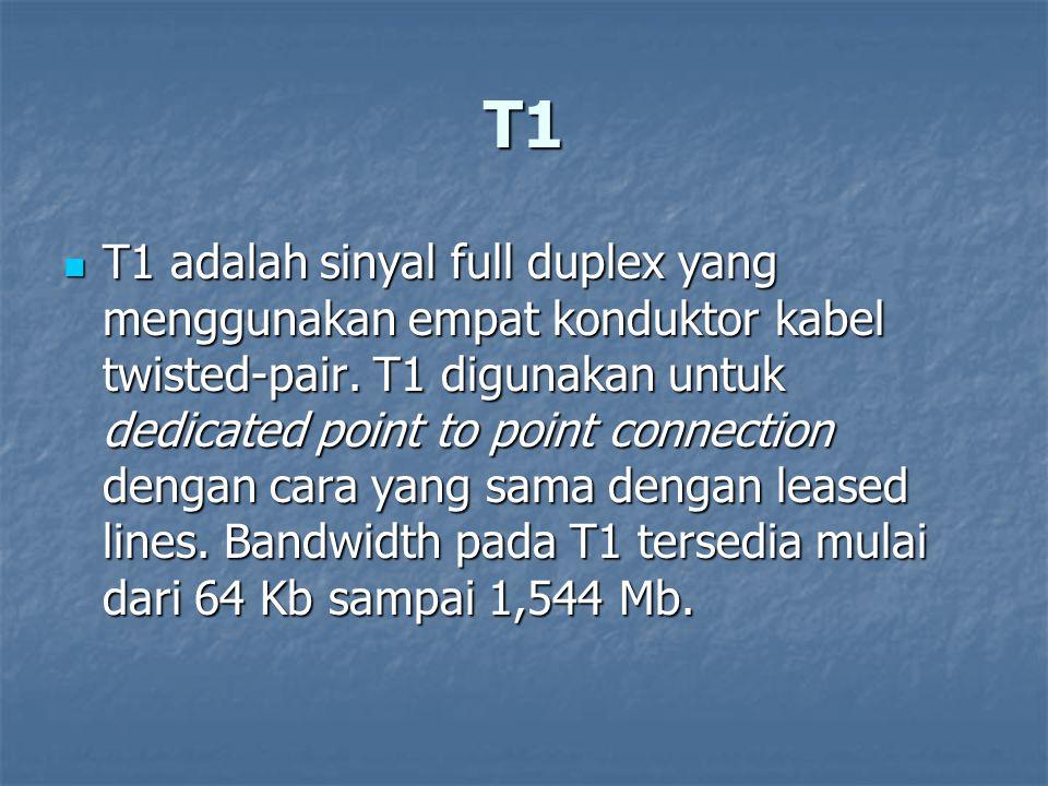 T1 T1 adalah sinyal full duplex yang menggunakan empat konduktor kabel twisted-pair. T1 digunakan untuk dedicated point to point connection dengan car