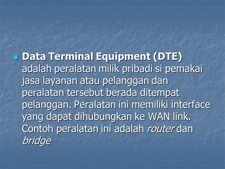 Data Circuit Terminating Equipment (DCE) Fasilitas komunikasi yang dimiliki oleh penyedia jasa layanan WAN, yang disewa oleh pemakai jasa layanan dan berada di tempat pemakai jasa layanan, berfungsi untuk mentranslasikan data dari DTE menjadi data yang dimengerti oleh protokol WAN, peralatan itu antara lain DSU/CSU, NT1, modem, dan jika layanan itu berupa layanan frame relay maka peralatan itu berupa Packet Switcher Data Circuit Terminating Equipment (DCE) Fasilitas komunikasi yang dimiliki oleh penyedia jasa layanan WAN, yang disewa oleh pemakai jasa layanan dan berada di tempat pemakai jasa layanan, berfungsi untuk mentranslasikan data dari DTE menjadi data yang dimengerti oleh protokol WAN, peralatan itu antara lain DSU/CSU, NT1, modem, dan jika layanan itu berupa layanan frame relay maka peralatan itu berupa Packet Switcher