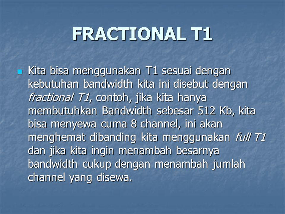 FRACTIONAL T1 Kita bisa menggunakan T1 sesuai dengan kebutuhan bandwidth kita ini disebut dengan fractional T1, contoh, jika kita hanya membutuhkan Ba