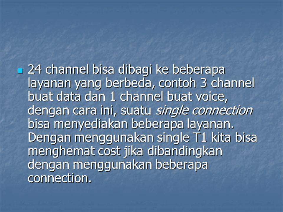 24 channel bisa dibagi ke beberapa layanan yang berbeda, contoh 3 channel buat data dan 1 channel buat voice, dengan cara ini, suatu single connection