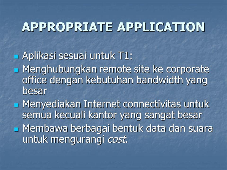 APPROPRIATE APPLICATION Aplikasi sesuai untuk T1: Aplikasi sesuai untuk T1: Menghubungkan remote site ke corporate office dengan kebutuhan bandwidth y