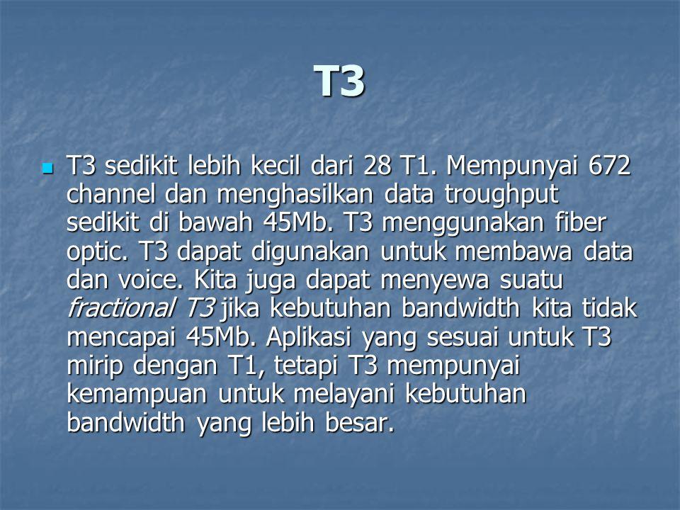 T3 T3 sedikit lebih kecil dari 28 T1. Mempunyai 672 channel dan menghasilkan data troughput sedikit di bawah 45Mb. T3 menggunakan fiber optic. T3 dapa