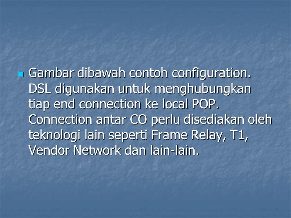 Gambar dibawah contoh configuration. DSL digunakan untuk menghubungkan tiap end connection ke local POP. Connection antar CO perlu disediakan oleh tek